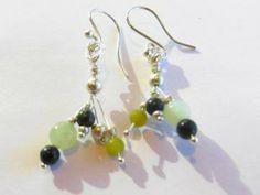 Unique earrings, unique dangle spray, new jade earrings, handmade earrings by JosiannesJewelry for $15.00