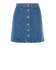 Teens Blue Button Front A-Line Denim Skirt | New Look