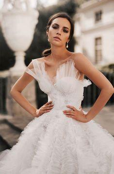 Sleeveless Sweetheart neckline ruffled ball gown a line wedding dress chapel train #weddinggown #weddingdresses #wedding #weddings #weddingdress #weddinggowns