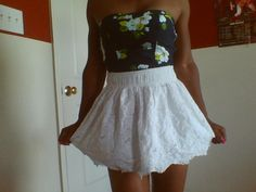 Navy tube top from Hollister and white skirt from Hollister. Cute summer outfit<33