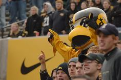 Herky celebrating with the crowd.
