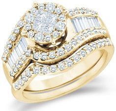 14k Yellow OR White Gold Diamond Ladies Womens Bridal Engagement Ring with Matching Wedding Band Two 2 Ring Set... $2,019.00