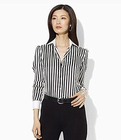 Lauren Ralph Lauren Long-Sleeve Silk Blouse | Dillards.com
