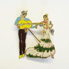 Vintage pin or brooch flamenco dancers with guitar by trendybindi, $30.00