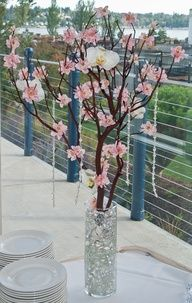 Manzanita branches with pink flowers and orchids, in tall cylinder vase