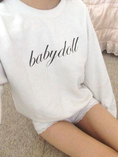 """If you haven't checked out my friend's shop, I recommend doing so before autumn rolls around for items such as my """"babydoll"""" sweatshirt! You can get this printed in an alternate font or on a pink sweatshirt instead along with a handful of other preset options. Custom orders are also available so you can get the perfect script special for you! Use my coupon code """"sweets4thesweet"""" for 10% every order (no minimum purchase is required)!"""