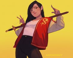 Mulan by Nicko Tumamak Disney Pixar, Disney Animation, Disney Cartoons, Disney And Dreamworks, Disney Characters, Punk Disney, Disney Princesses, Disney Princess Art, Disney Fan Art