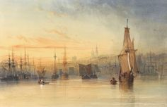 Thomas Miles Richardson the Elder  (1784–1848)  View of Newcastle from the Tyne  watercolor over pencil