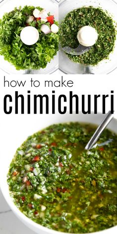 How to Make Easy Chimichurri Sauce from The Food Charlatan. Side Dish Recipes, Healthy Dinner Recipes, Mexican Food Recipes, Cooking Recipes, Healthy Food, Cooking Tools, How To Make Chimichurri, Chimichurri Sauce Recipe, Salads