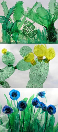 Tropical Plants, Succulents and Cactus Plants Made From Upcycled Plastic Bottles Tropische Pflanzen, Sukkulenten und Kakteen aus recycelten Plastikflaschen Plastic Bottle Design, Reuse Plastic Bottles, Plastic Bottle Flowers, Plastic Art, Plastic Animals, Recycled Bottles, Melted Plastic, Plastic Milk, Diy Recycling