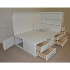 Image of: White Platform Bed with Storage Underneath