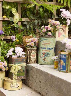 Vintage tins as flower pots Newport, Garden Art, Garden Design, Herb Garden, Vintage Tins, Amazing Flowers, Belle Photo, Garden Inspiration, Container Gardening