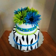 Zebra, lime green cake by Whites Cake Box