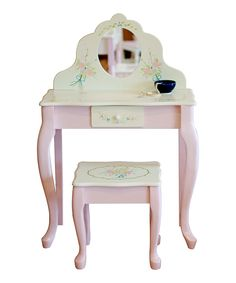 Look at this Pink Vanity Table & Stool on #zulily today!