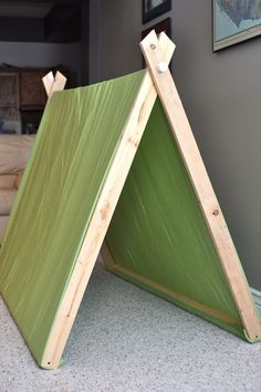 """Twin flat sheet, sheets measure 96""""X66""""  Fir strips, or 8 ' 1X2's & cut in half for the A-Frame & at 60"""" for the 2 bottom supports.  3/4"""" PVC cut at 60""""  2 3/4"""" PVC end caps  Drill 3/4"""" holes 2"""" from top of wood for PVC to slide through. Cut the tops on 22 degrees, so when open the tops are a straight line. Leave the bottoms flat.  Attach support strips to the bottom.  Wrap the sheets over and staple the fabric to the bottom support pieces.:"""