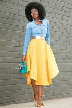 Fitted Denim Shirt + Waves Midi Skirt (Style Pantry) Outfit Details: Shirt (old): Try here, here or there Look Fashion, Fashion Models, Spring Fashion, Fashion Trends, French Fashion, Winter Fashion, Fashion Tips, Modest Fashion, Fashion Outfits