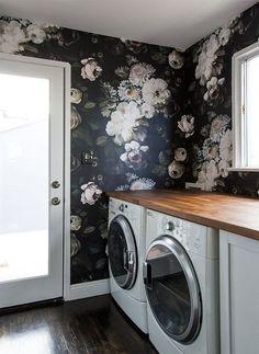 Sarah Sherman Samuel Floral Wallpaper Laundry Room