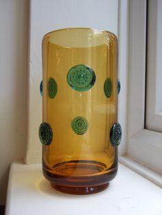 "8.25"" 1969 Vintage Czech Sklo JOSEF HOSPODKA Prachen Glass PRUNTS VASE"