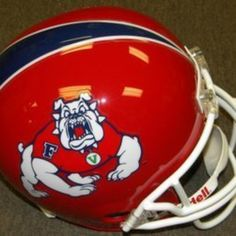 Fresno State Bulldogs Riddell NCAA Collegiate Deluxe Replica Full Size Helmet - Bulldog in Red Shirt from Gary's Sports Closet Official Online Store- NFL-NBA-MLB-NHL-NCAA for $250.00 on Square Market