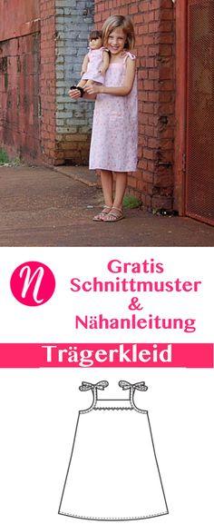 Einfaches Trägerkleid für Mädchen nähen - für 2 bis 8 Jahre - Freebook ❤ DIY - selber nähen ✂ Nähtalente.de - Magazin für kostenlose Schnittmuster ✂Free sewing pattern for an easy popover dress for girls. Size 2 - 8.
