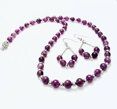 Amethyst Jewelry set  Stainless Steel Jewelry  Purple Amethyst Jewelry, Gemstone Necklace, Stainless Steel Jewelry, Beaded Bracelets, Necklaces, Bohemian Style, Jewelry Sets, Jewerly, Autumn Fashion