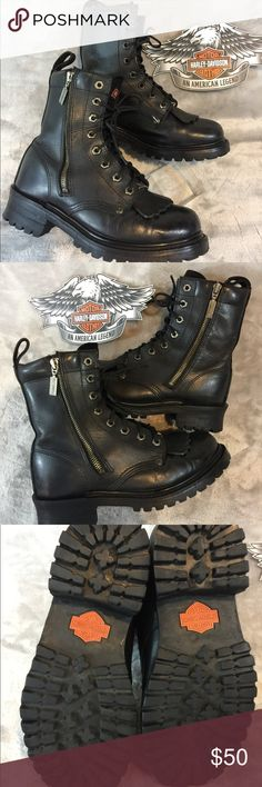 Harley Davidson Ladies Boots Old school side zip Harley boots. All leather with removable leather tassels. Size 8 well loved, perfectly broken in and comfortable....plenty of life left.  Great alternate pair to save the life of your new expensive boots!  No pets/smoke closet Harley-Davidson Shoes Combat & Moto Boots
