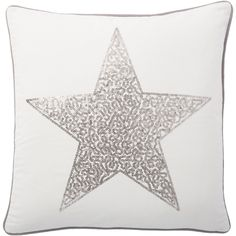 Complete the look of your couch with this Andrew Charles Throw Pillow featuring a star print. The off-white colors will complement your decor while adding extra style to your sofa, chair or bed. This pillow is crafted of cotton.