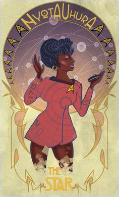 Star Trek Tarot Card - Nyota Uhura by radiobutter (Chiara/Ghia) Star Trek Spock, Star Wars, Star Trek Tos, Akira, Star Trek Beyond, Star Trek Original Series, Star Trek Characters, Movies And Series, Starship Enterprise