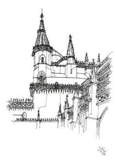 Batalha Monastery, Batalha #sketch #sketching #urbansketchers #theheadlessketcher #drawing #sketchbook #architecture  #Portugal #uskp #pendrawing #watercolor