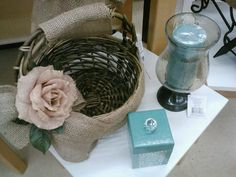 Burlap decorated basket with burlap rose