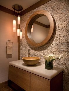 Bathroom Design, Transitional Powder Room Sinks With Asian Style Also Cool Circle Mirror With Wooden Frame Also Coral Stones Wall Material And Modern Vanity Made From Plywood Also Unique Washbowl Design And Modern Faucet: Powder Room Decorating Ideas for Your Bathroom