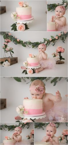 pink and peach floral flower cake smash - birthday pictures - Hayley Birthday Photoshoot - Baby Cake Smash, 1st Birthday Cake Smash, Baby Girl 1st Birthday, First Birthday Pics, Cake Smash Cakes, 1 Year Birthday, Cake Smash Photos, Birthday Ideas, Birthday Party Photography