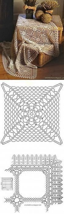 ideas crochet lace tablecloth place mats for 2019 Crochet Motifs, Crochet Blocks, Crochet Diagram, Crochet Chart, Crochet Squares, Thread Crochet, Filet Crochet, Irish Crochet, Crochet Doilies