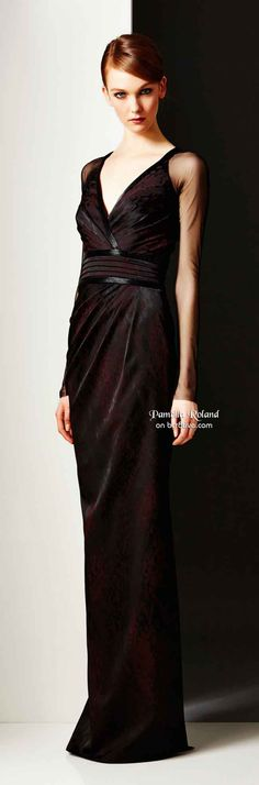 Stunning black and burgundy gown.  Black tie. Pamella Roland Pre Fall 2014