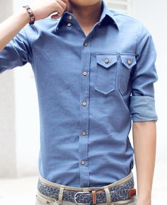 A denim shirt and khakis is a great business casual style