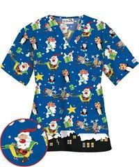 $7.99 Sale   UA Happy Night Holiday Print Scrub Top x-mas