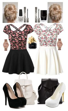 """""""Best friend outfits"""" by chloe12801 ❤ liked on Polyvore featuring Giambattista Valli, MANGO, Chanel, Michael Antonio, OPI, Butter London, Marc Jacobs, GUESS, Burberry and cute"""