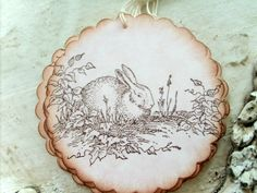 Little French Rabbit Bunny Gift Tags on Pink Marbled Cardstock, Baby, Spring, Easter, Nature, Set of 6, Round Gift Tags. $4.75, via Etsy.