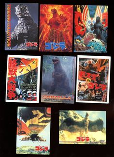 Godzilla Vintage 1995 Japanese 8 card lot includes 1 check list card Free Shipping by Tanraytoycollectable on Etsy