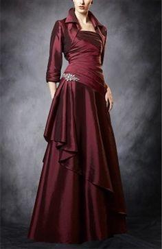 A-line Strapless Red Floor-length Mother Of The Bride Dress - Mother Of The Bride Dresses - OuterInner.com