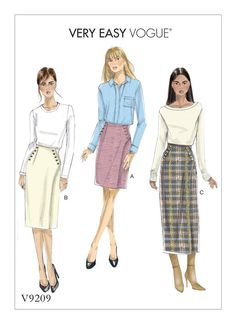Vogue Patterns V9209 fitted wrap skirt has button detail and length variations.