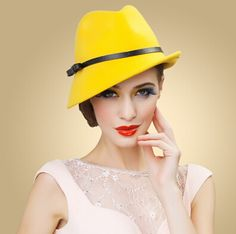 Yellow wool fedora hat for women leather bow felt hats trilby