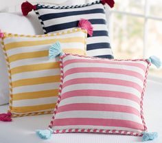 Find kids pillows in cute designs at Pottery Barn Kids. Shop kids throw pillows that will add style and personality to the playroom. Cushion Cover Designs, Cushion Covers, Pillow Covers, Cushion Embroidery, Diy Furniture Couch, Kids Pillows, Pottery Barn Kids, Soft Furnishings, Decorative Throw Pillows