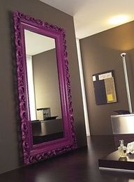 Paint an oversized mirror in a bright color for a pop of color @ Home Designer Ideas