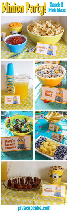 trendy birthday party food for kids minion 6th Birthday Parties, Third Birthday, Birthday Fun, Minon Birthday Party Ideas, Disney Frozen Party, Fete Laurent, Kunst Party, Despicable Me Party, Festa Party