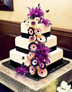 cake, cascade of flowers and feathers
