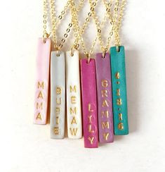Stamped Reversible Bar Necklace, Christmas Gift, Name stamped Colorful Vertical Bar on Gold chain, Dainty Women's Jewelry, 2 in 1 Necklace – DIY jewelry Womens Jewelry Rings, Diy Jewelry, Women Jewelry, Jewelry Making, Handmade Jewelry, Jewelry Design, Jewelry Bracelets, Diy Bracelet, Gold Jewelry