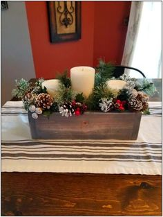 christmas 60 Favorite Rustic Winter Decor to Consider Elegant Christmas, Rustic Christmas, Christmas Candle Decorations, Holiday Decor, Rustic Winter Decor, House Ornaments, Decor Crafts, Rustic Farmhouse, Shabby