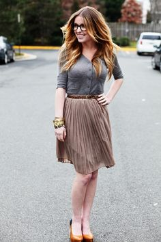 Shoes: Aldo, Skirt: F21, Belt: JCrew, Sweater: Target, Glasses: UO, Watch: Gift, Bracelet: c/o Vanessa