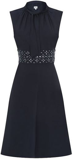 Armani Tie Neck Embellished Dress in Blue (navy) | Lyst